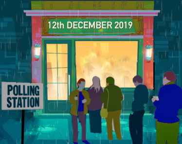 winter polling station